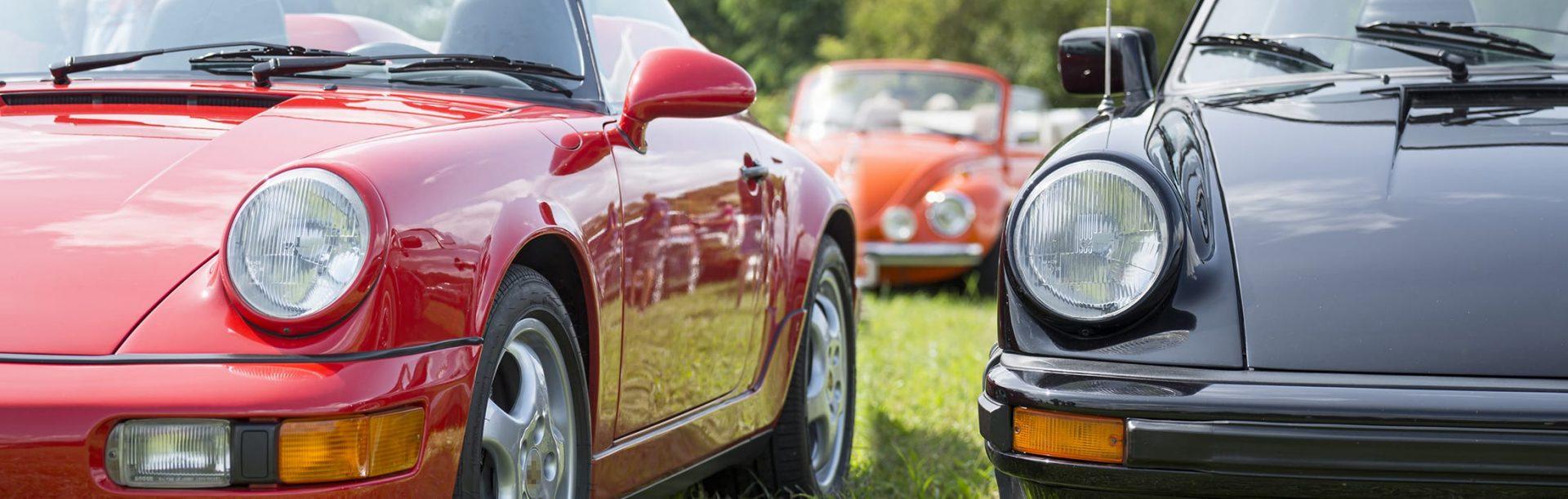Line of Porsche classic cars