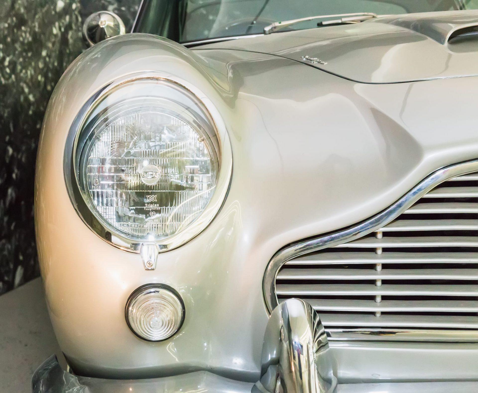 Front headlight of Aston Martin classic car