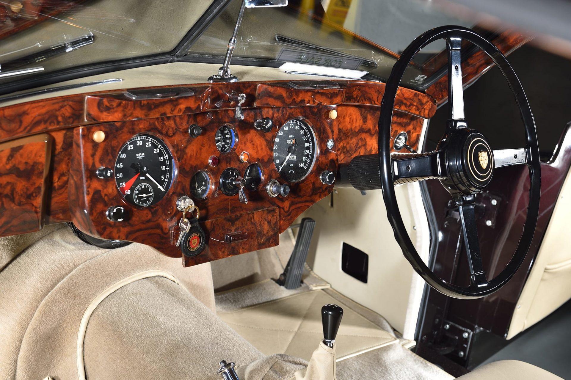 Dashboard and steering wheel in classic Jaguar car