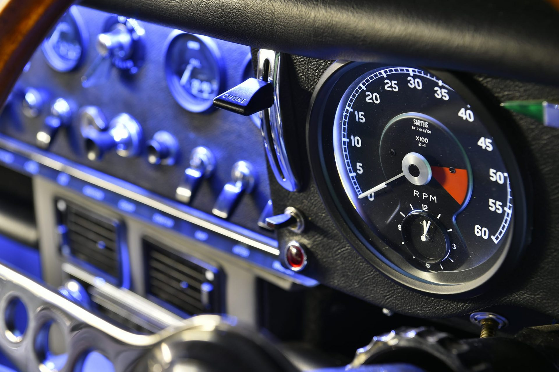 LED lighting on dashboard and dials of Jaguar E Type